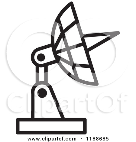 Clipart of a Black and Gold Satellite Dish Icon.