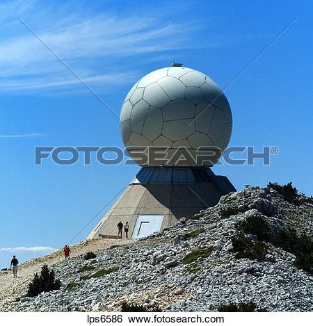 Stock Images of radar dome on top of mont ventoux mountain.