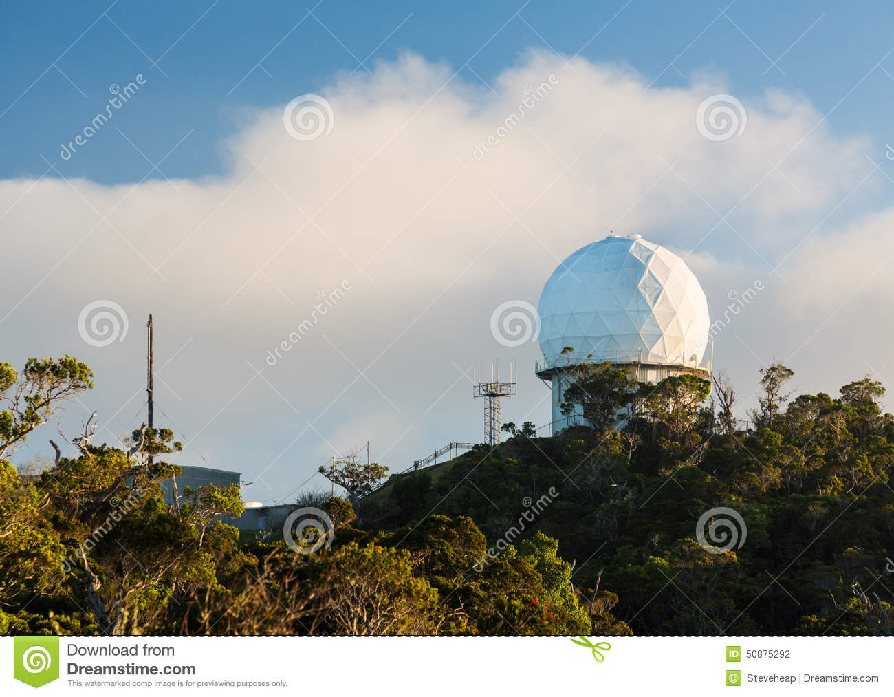 Radome Radar Device Waimea Canyon Kauai Stock Photo.