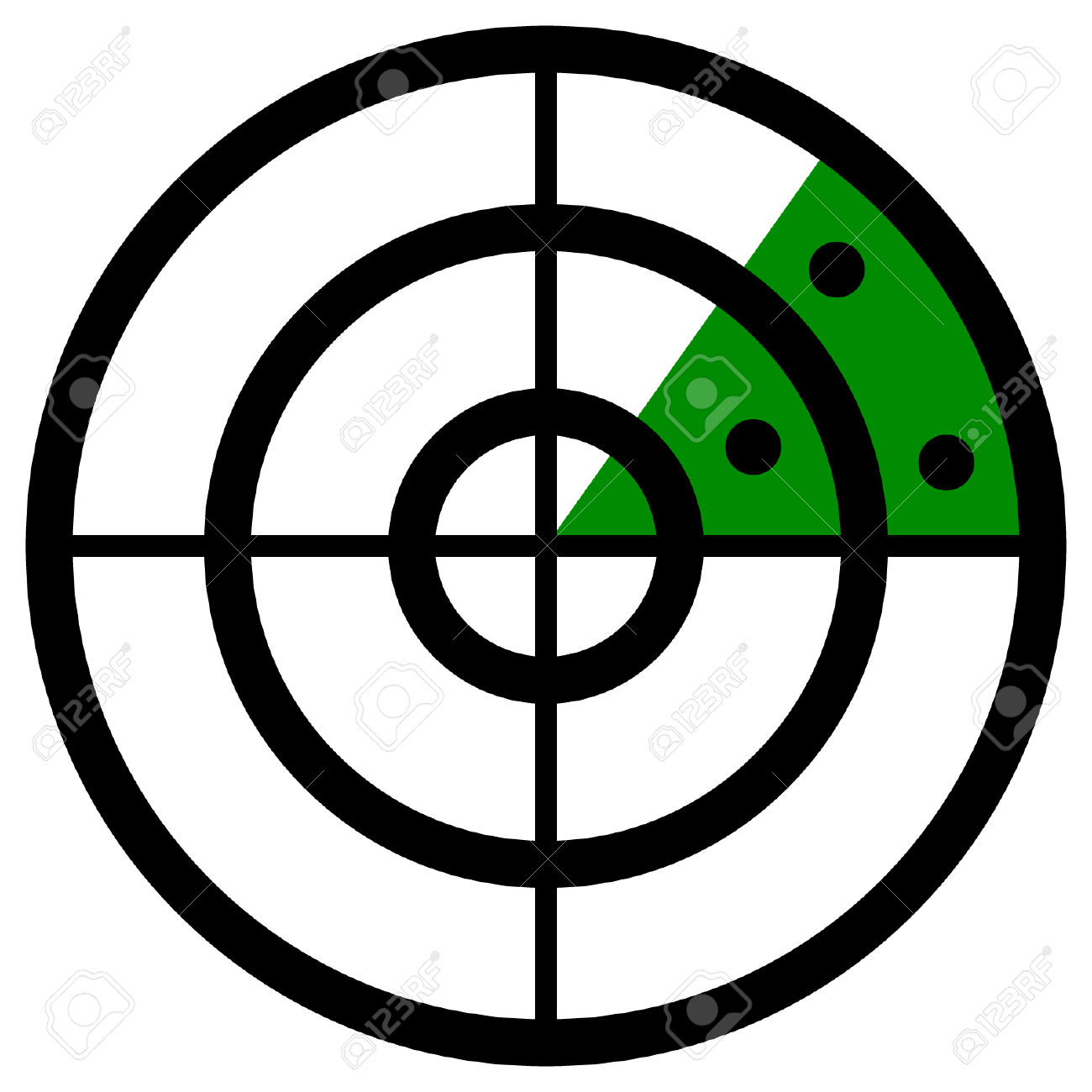 Radar Screen Symbol, Clip Art With Targets. Radar Icon. Royalty.