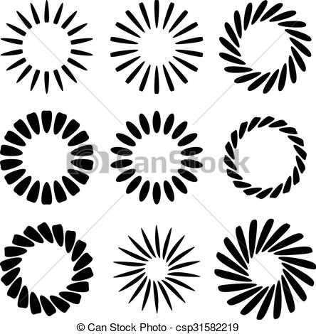 Vector Clip Art of Abstract radial elements, radiating lines. Set.