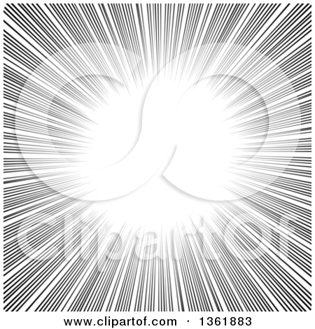 Clipart of a Black and White Radial Manga Comic Speed Burst.