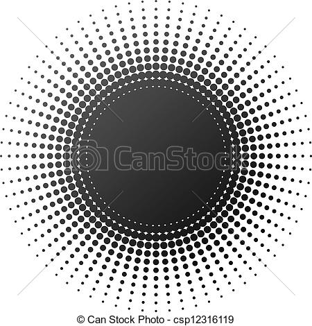 Vector Clip Art of Radial halftone element isolated on white.