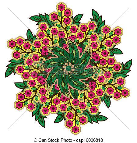 Vector Clip Art of Rustic radial floral ornament csp16006818.