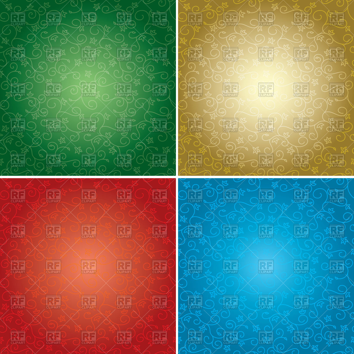 Floral backgrounds with radial gradient Vector Image #98675.