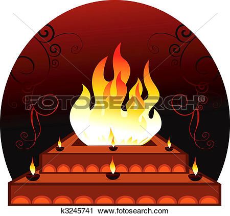 Clipart of Homam with frames in radiant red k3245741.