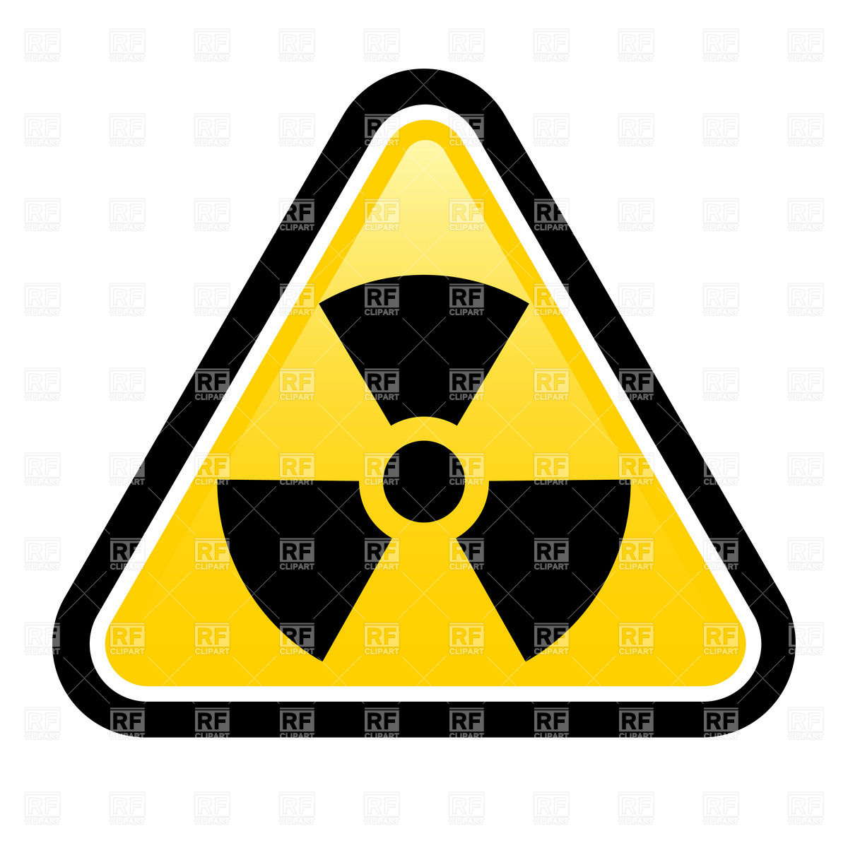 Yellow triangle sign with a radiation warning symbol Vector Image.