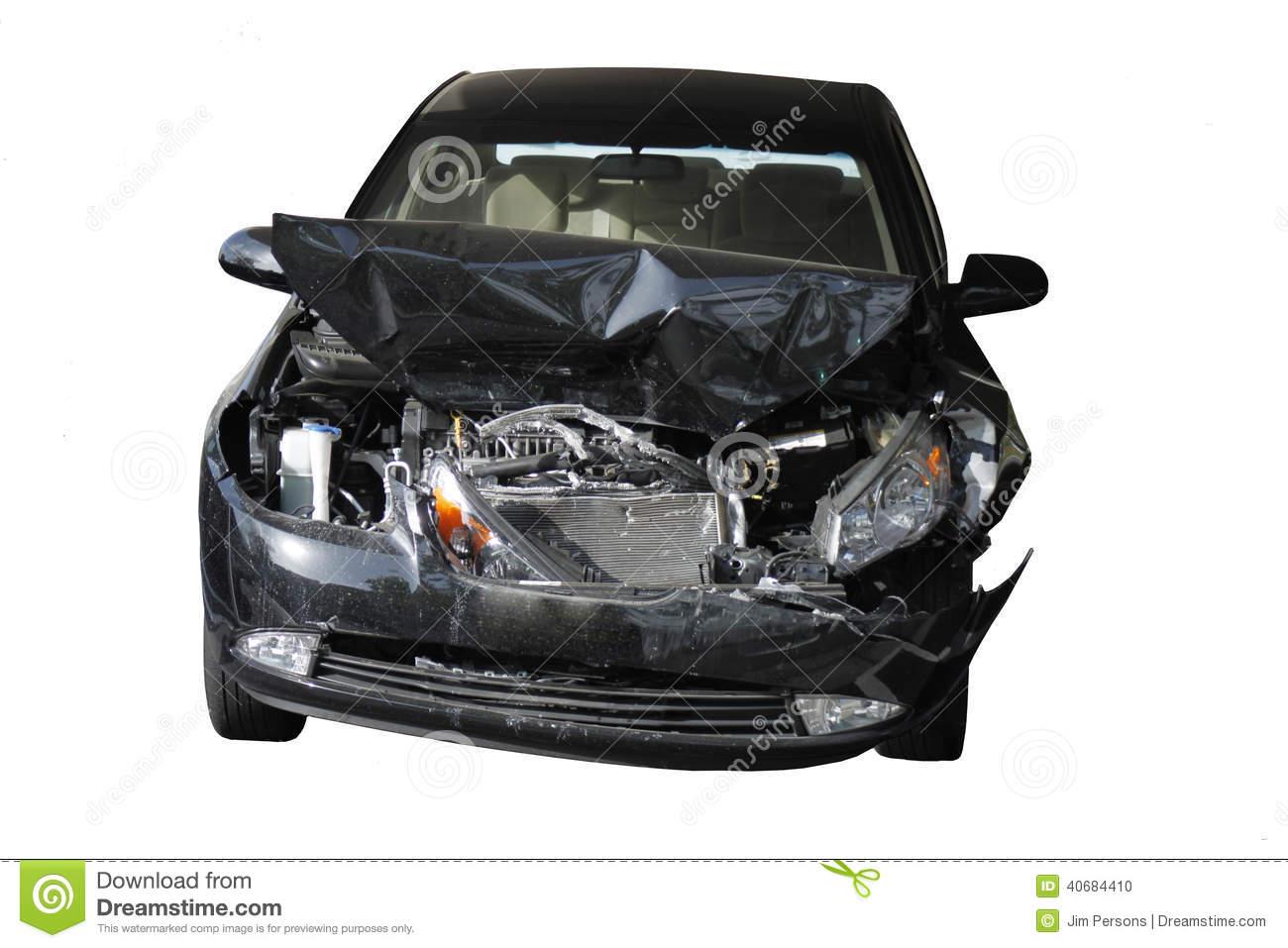 Accident Damaged Car Stock Photo.