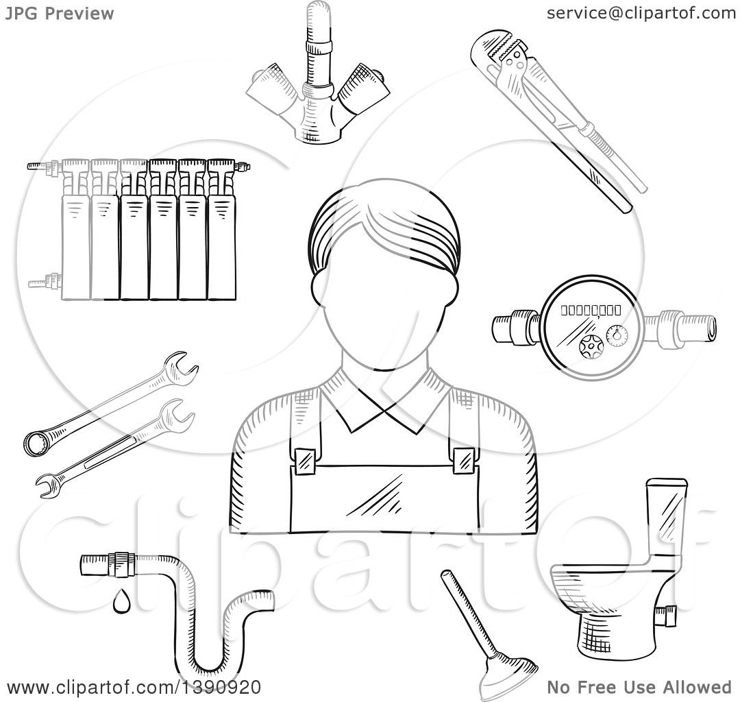 Clipart of a Sketched Gray Radiator of Heating System, Water.