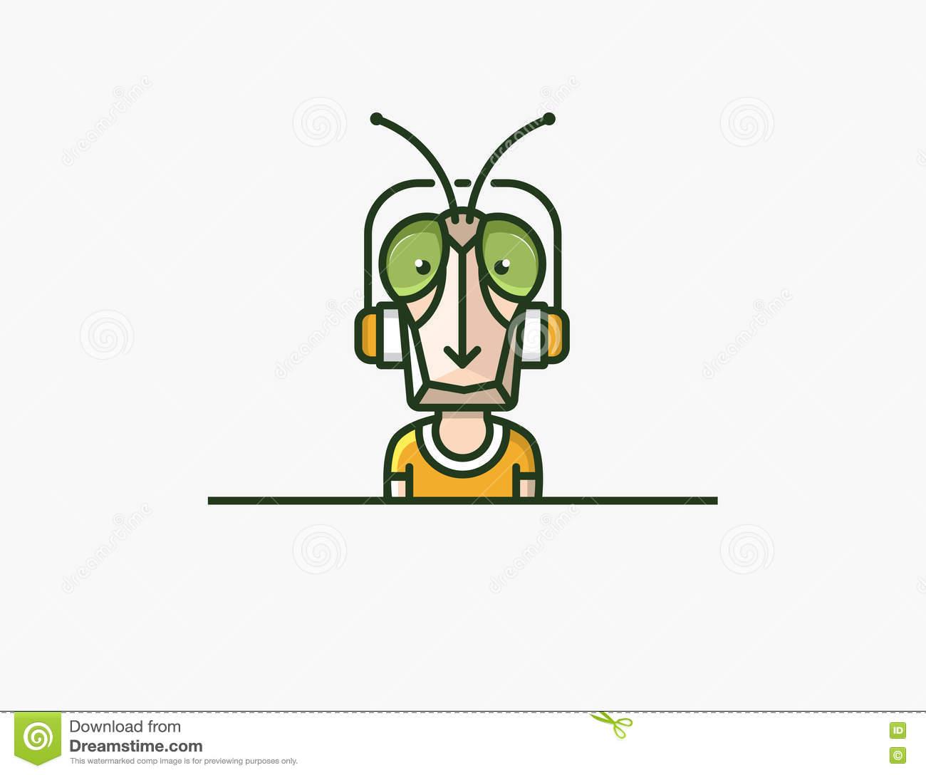 Insect Mascot. Headphones Character Stock Vector.