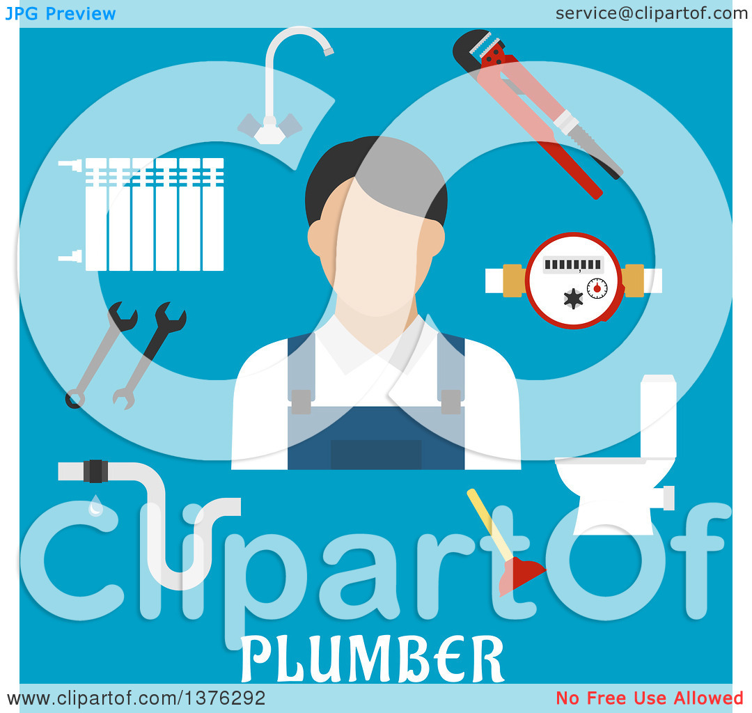 Clipart of a Radiator of Heating System, Water Faucet and Water.