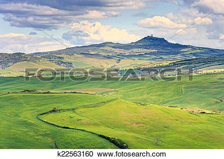 Stock Photography of Tuscany, Radicofani village, farmland and.