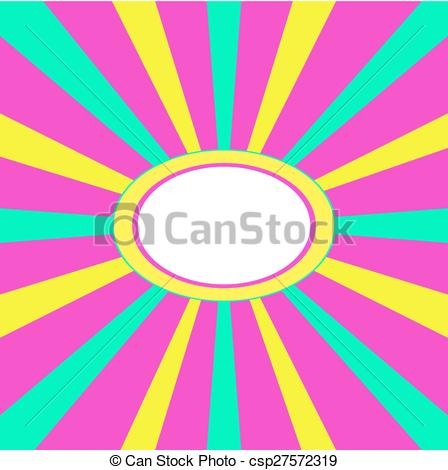 Vector Clip Art of Pink green yellow radiant frame.