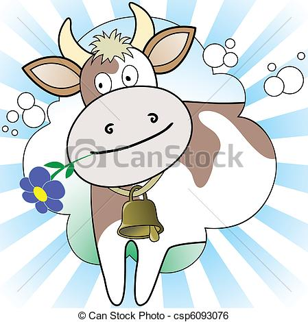 Clip Art Vector of Cow on the radiant background.