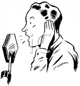 A Retro Cartoon of a Male Radio Announcer.