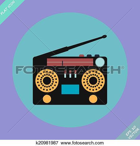 Clip Art of Retro Stereo Radio Cassette Recorder k20981987.