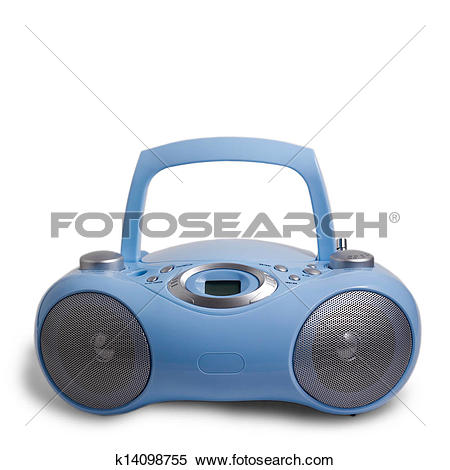 Stock Image of blue stereo CD mp3 radio cassette recorder isolated.