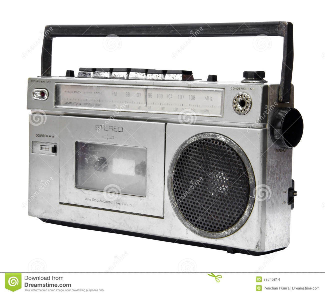 Vintage Radio Cassette Recorder Stock Photo.