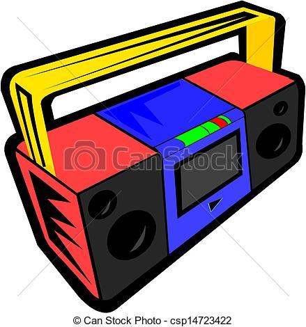 Vector Illustration of Vintage radio cassette recorder csp14723422.