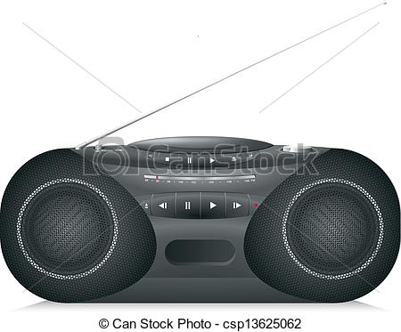 Clip Art Vector of Realistic Radio cassette recorder with CD.