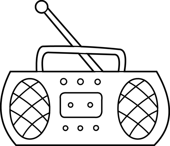 Cartoon Radio Black and White.