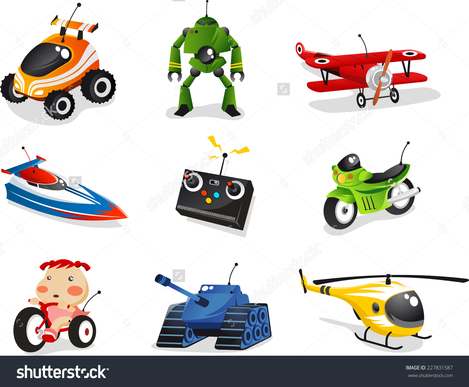 Remote Control Toy Collection Includes Car Stock Vector 227831587.