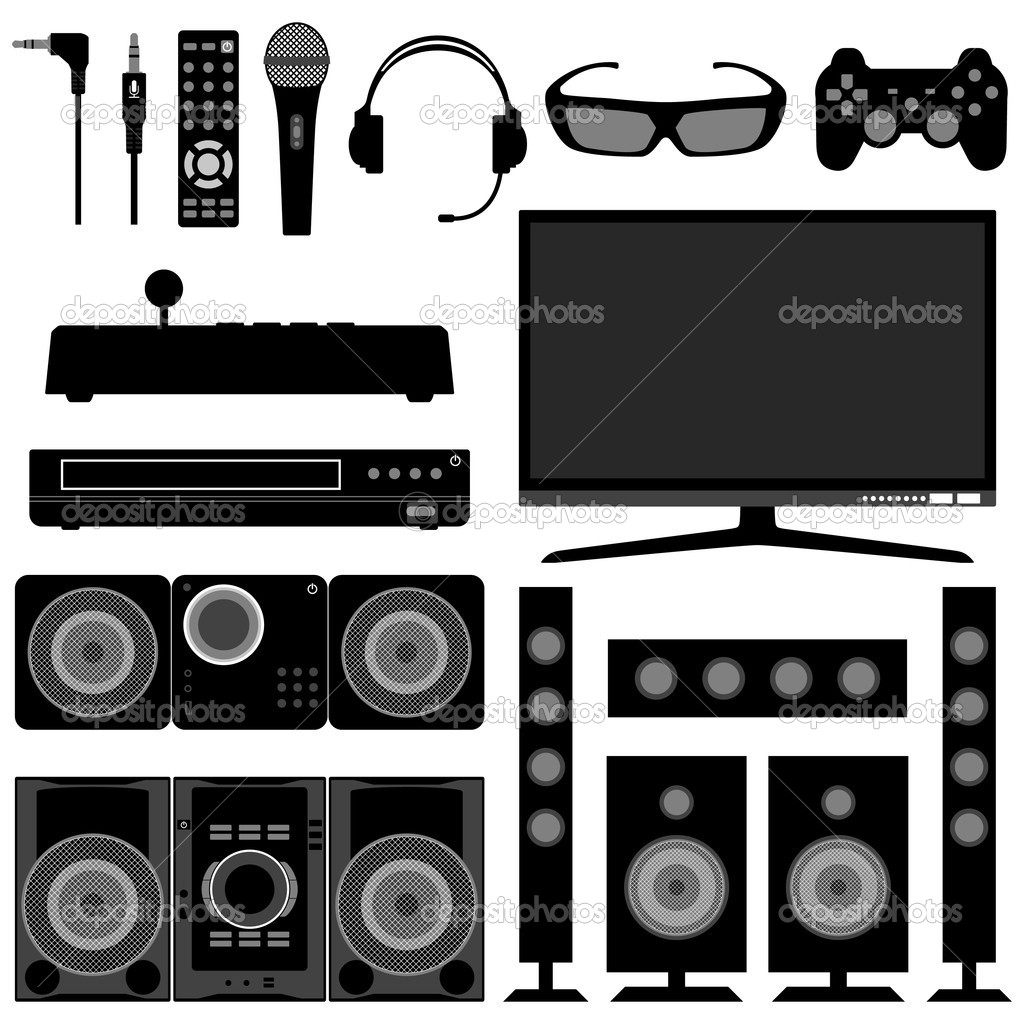 Radio Television System Electronic Appliances — Stock Vector.