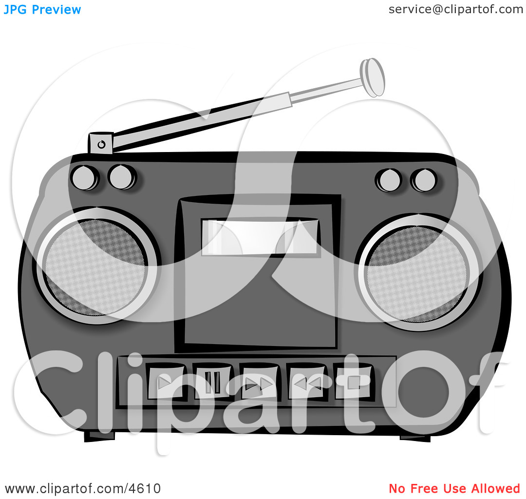 Old Potable Boombox Stereo System Clipart by Dennis Cox #4610.