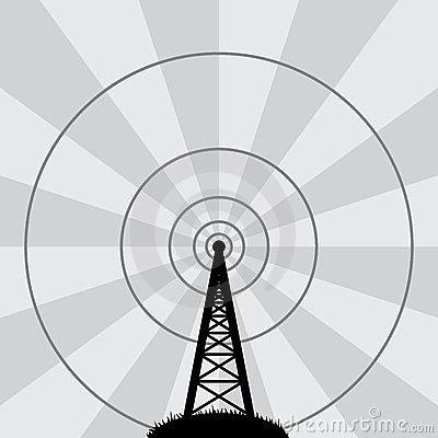 Vector Radio Tower And Air Waves Stock Image.