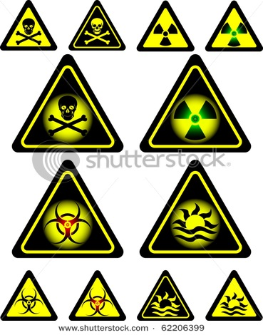 Radioactivity and Poison Warning Signs in a Vector Clip Art Picture.