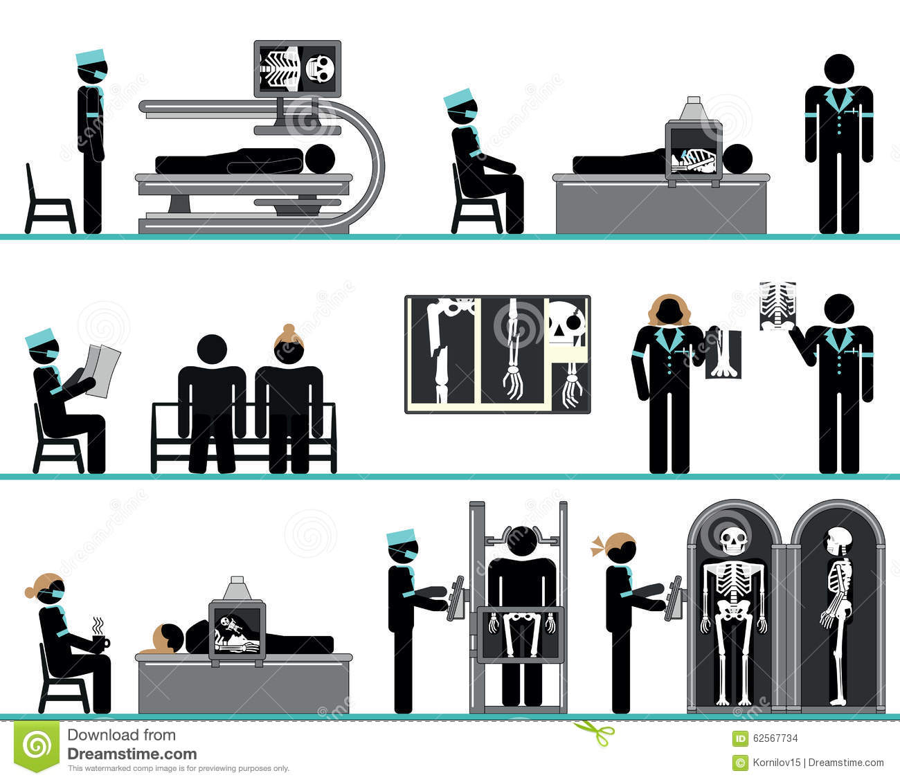 Pictogram Set Of Radiology Department Stock Vector.