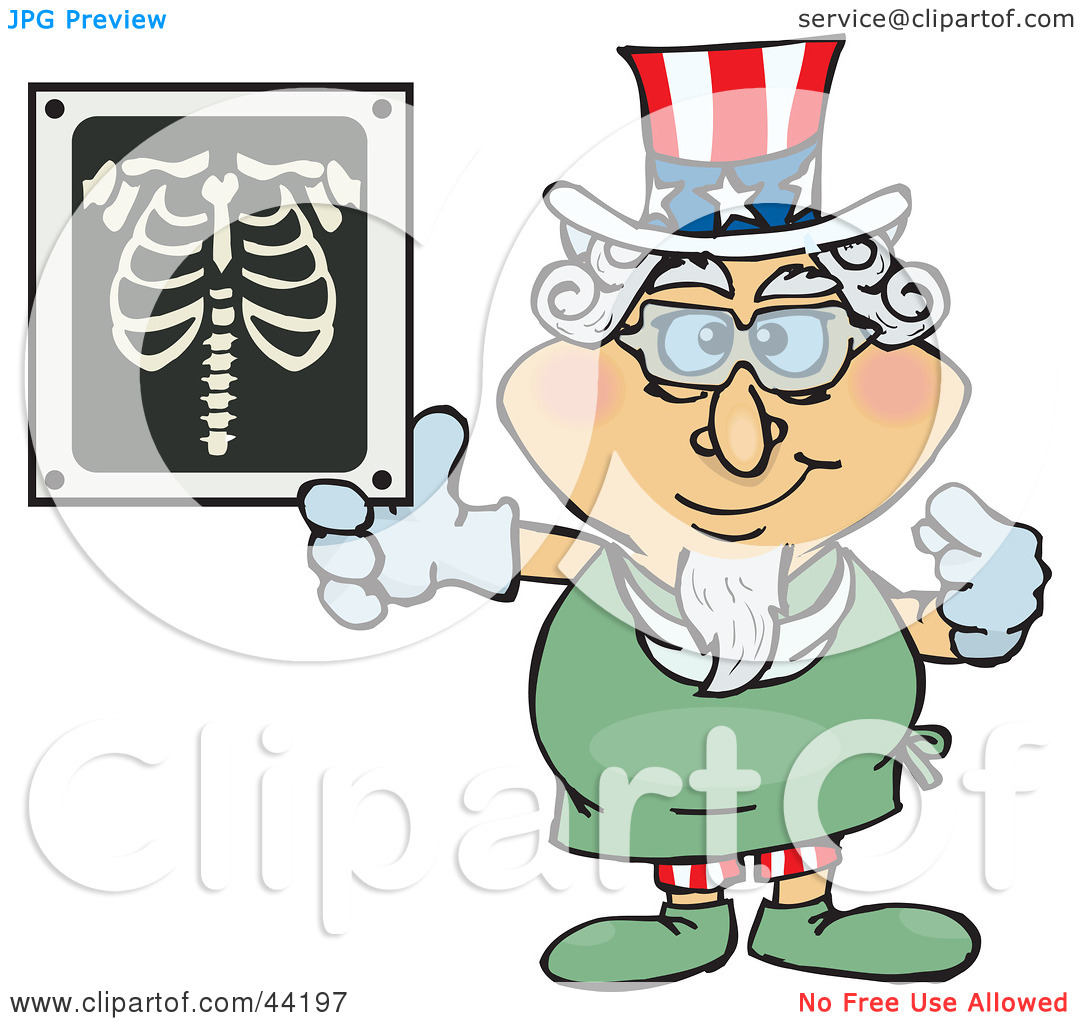 Clipart Illustration of an American Uncle Sam Radiologist Pointing.