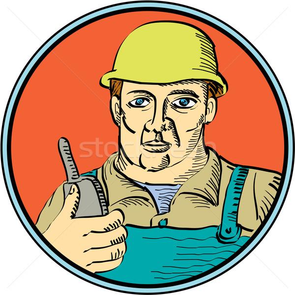 Builder Carpenter Holding Radio Phone Circle Retro vector.