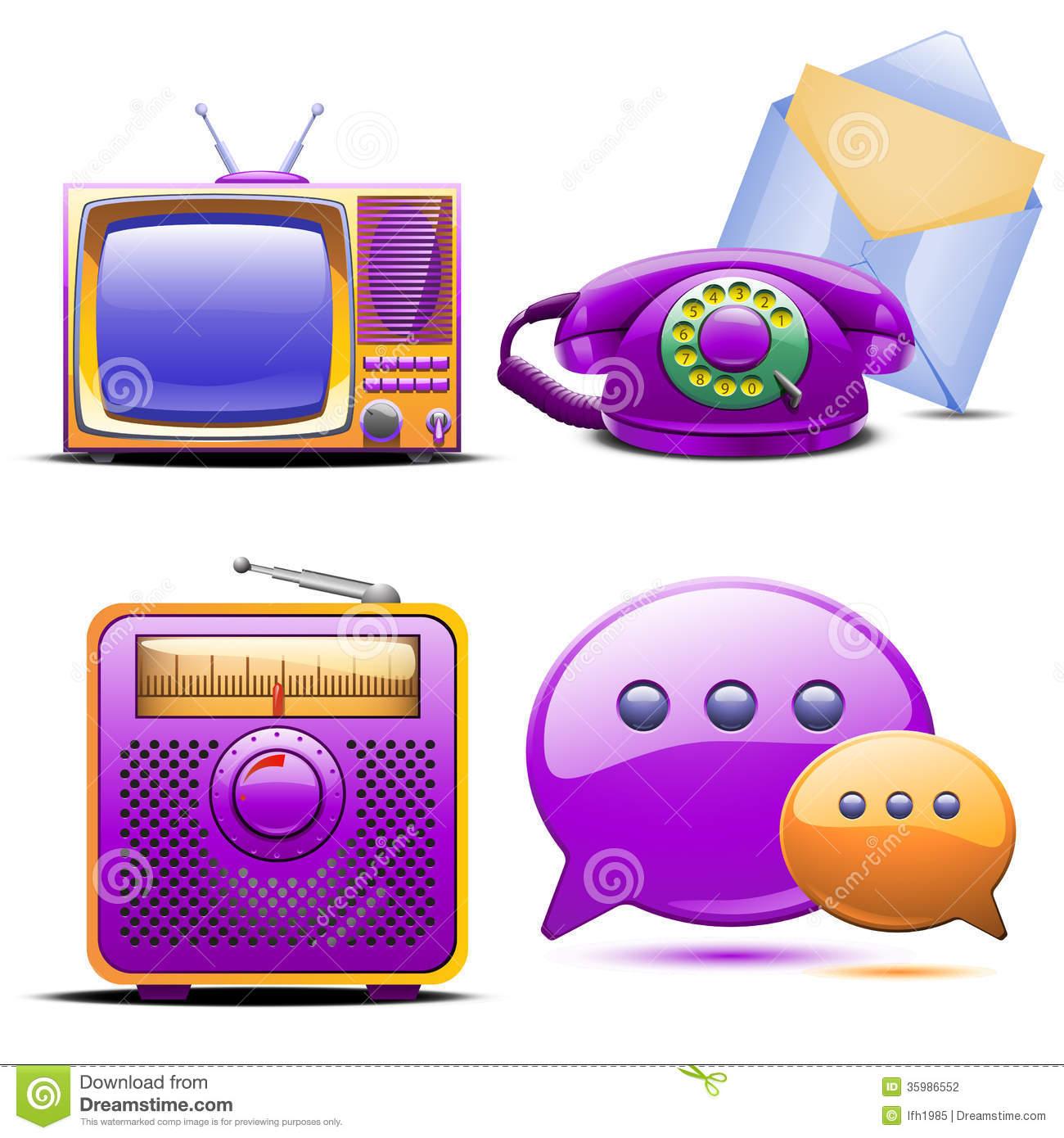 Set Of Retro Stylized Tv Radio Phone And Mail Stock Photography.