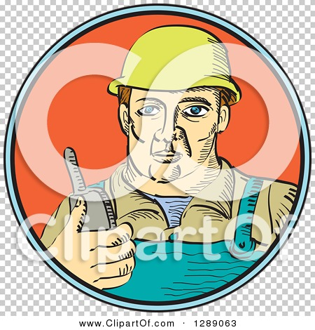 Clipart of a White Male Construction Worker Holding a Radio Phone.
