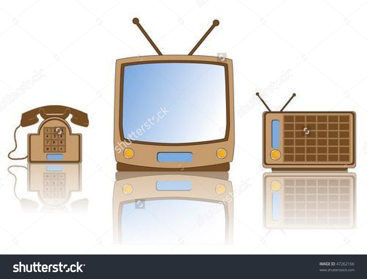 Collection Retro Tv Radio Telephone Stock Vector 47262166.