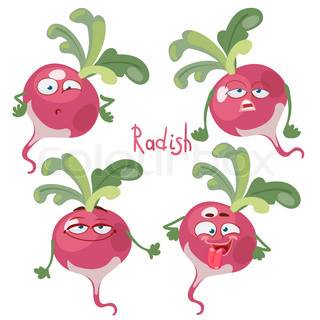 Cartoon character with a mustache with many expressions of radish.