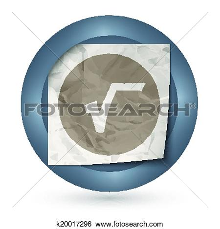Clip Art of dark abstract icon with crumpled paper and radix sign.