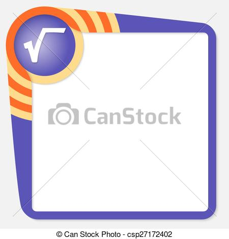 Vector Clipart of Dark purple box for your text and radix symbol.