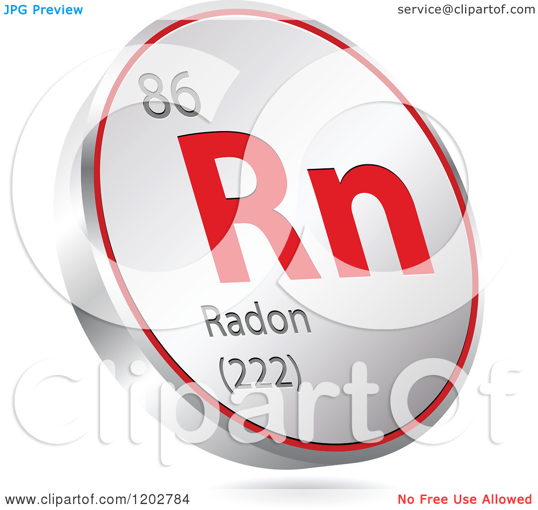 Clipart of a 3d Floating Round Red and Silver Radon Chemical.