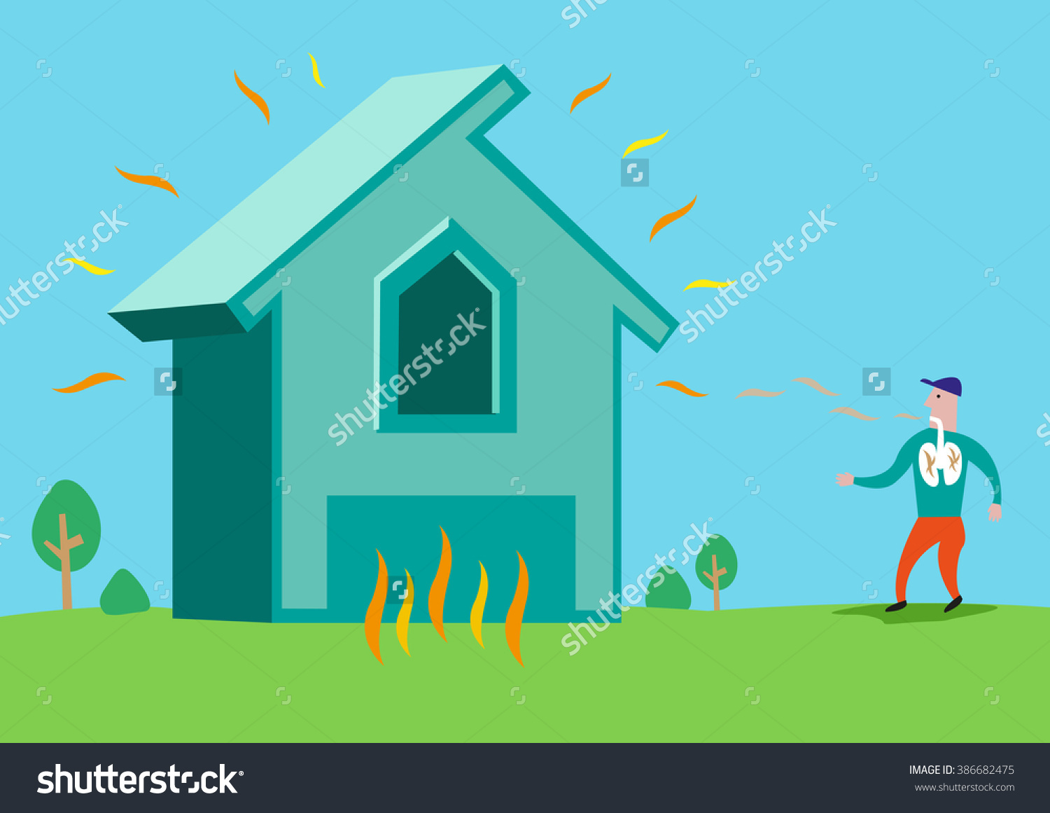 House In Flames Or With Asbestos Or Radon Radiation. Editable Clip.
