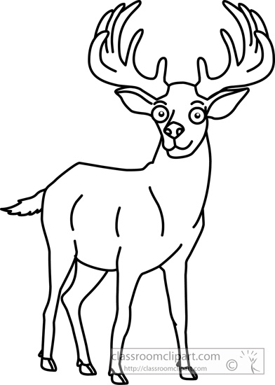 Elk Black And White Clipart.