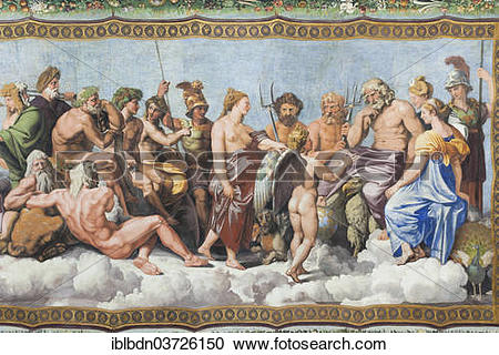 """Stock Photography of """"The Council of the Gods, ceiling fresco by."""