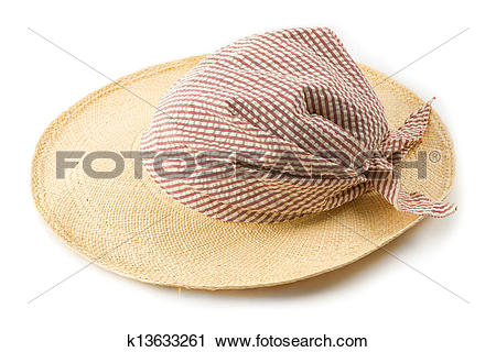 Stock Photography of Raffia picture hat with striped bandana.