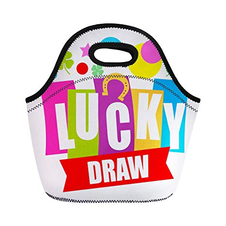 Amazon.com: Semtomn Lunch Tote Bag Prize Colorful Sign Lucky.