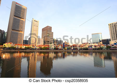 Stock Photos of Singapore River with the skyline of Raffles Place.