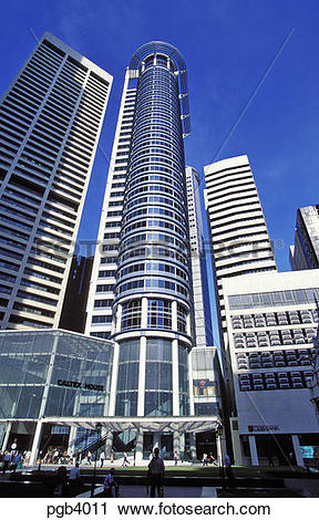Stock Photography of Singapore. Modern high rise office building.