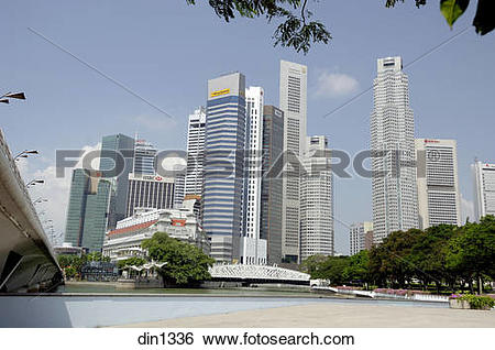 Stock Images of Sky Scrapers ; Raffles place ; towers.