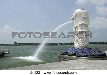 Stock Photography of Merlion at Marina Bay ; raffles place.