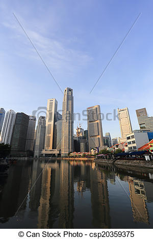 Picture of Singapore River with the skyline of Raffles Place.
